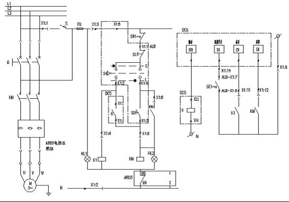 图1 ARD3智能型电动机保护器应用于某水泥厂电动机设备控制回路接线图   水泥生产工艺流程较多,所以将保护器有效的应用于电动机保护设备控制回路的同时要能够满足水泥厂的大型控制系统的要求。如图2是某水泥厂控制系统的整体结构图,现场由多个控制站点组成,通过标准RS-485通讯接口与PC机、接触器、电动机以及其他设备构成集中式控制系统,工程师通过监控计算机以及生产管理软件完成对整个系统设备的数据采集、处理、显示和监视功能,并在满足权限和逻辑时,通过远程控制软件实现对现场相应的电机设备等的控制。由于现代水